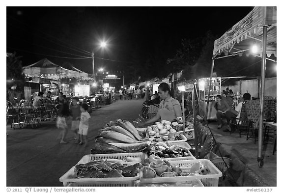 Seafood stall, night market. Phu Quoc Island, Vietnam (black and white)