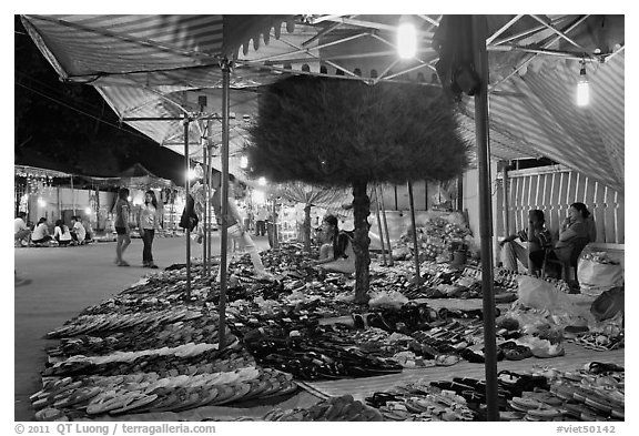 Footwear stall, Dinh Cau Night Market. Phu Quoc Island, Vietnam (black and white)