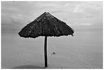 Sun shade in shallow beach water. Phu Quoc Island, Vietnam (black and white)