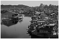River lined up with fishing boats. Phu Quoc Island, Vietnam (black and white)