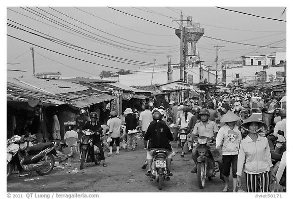 Busy public market, Duong Dong. Phu Quoc Island, Vietnam (black and white)