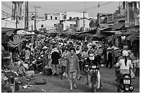 Crowds in public market, Duong Dong. Phu Quoc Island, Vietnam ( black and white)