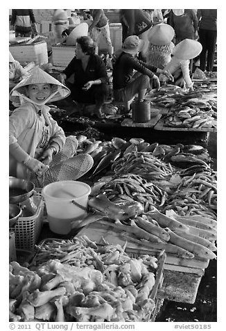 Woman selling sea food, Duong Dong. Phu Quoc Island, Vietnam (black and white)