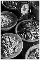 Close up of baskets of seafood and scale, Duong Dong. Phu Quoc Island, Vietnam ( black and white)