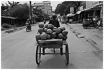 Cyclo carrying coconuts, Duong Dong. Phu Quoc Island, Vietnam (black and white)