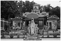 Buddhist temple, Duong Dong. Phu Quoc Island, Vietnam (black and white)