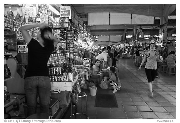 Inside Ben Thanh Market. Ho Chi Minh City, Vietnam (black and white)
