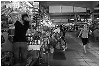 Inside Ben Thanh Market. Ho Chi Minh City, Vietnam ( black and white)