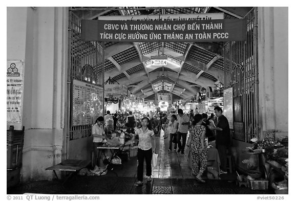 Gate, Ben Thanh Market. Ho Chi Minh City, Vietnam (black and white)