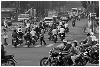 Motorcyle traffic on large avenue. Ho Chi Minh City, Vietnam (black and white)