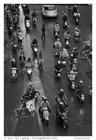 Traffic at night seen from above. Ho Chi Minh City, Vietnam (black and white)