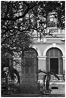 Colonial-area building. Ho Chi Minh City, Vietnam ( black and white)