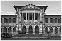 Courthouse in French colonial architecture. Ho Chi Minh City, Vietnam ( black and white)