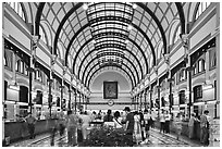 Interior of Central Post Office. Ho Chi Minh City, Vietnam ( black and white)
