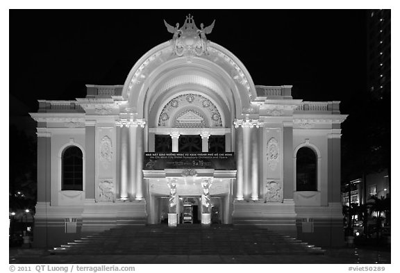 Opera House (Nha Hat Thanh Pho) at night. Ho Chi Minh City, Vietnam (black and white)