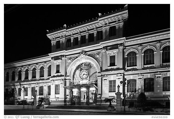Central Post Office facade at night. Ho Chi Minh City, Vietnam (black and white)