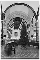 Christmas tree in Central Post Office. Ho Chi Minh City, Vietnam (black and white)