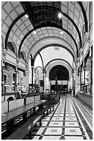 Inside of Central Post office designed by Gustave Eiffel. Ho Chi Minh City, Vietnam ( black and white)