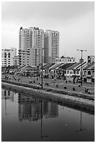 Newly developped banks of the Saigon Arroyau. Cholon, Ho Chi Minh City, Vietnam ( black and white)