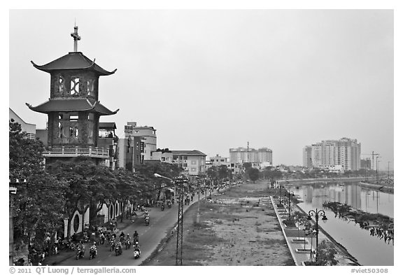 Church on the banks of the Saigon Arroyau. Cholon, Ho Chi Minh City, Vietnam (black and white)