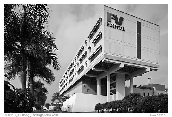 FV Hospital (one of the most modern in the country), Phu My Hung, district 7. Ho Chi Minh City, Vietnam (black and white)