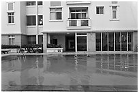 Swimming pool in appartnment complex, Phu My Hung, district 7. Ho Chi Minh City, Vietnam (black and white)