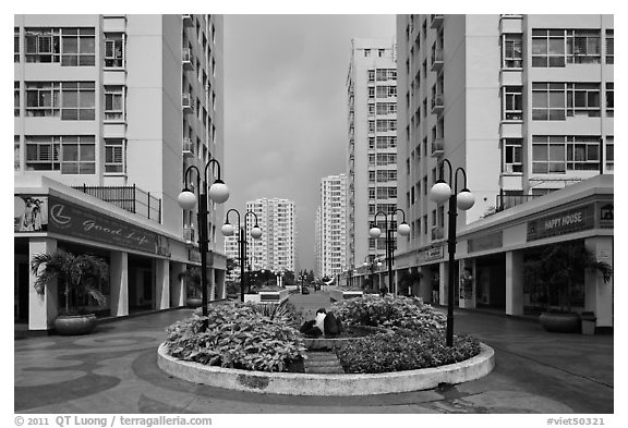Residential towers complex, Phu My Hung, district 7. Ho Chi Minh City, Vietnam (black and white)