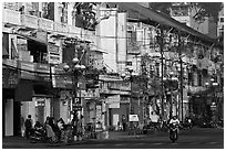 Facades of colonial-area townhouses. Ho Chi Minh City, Vietnam ( black and white)