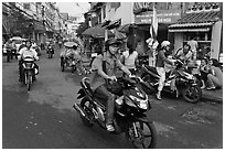 Early morning street scene. Ho Chi Minh City, Vietnam (black and white)
