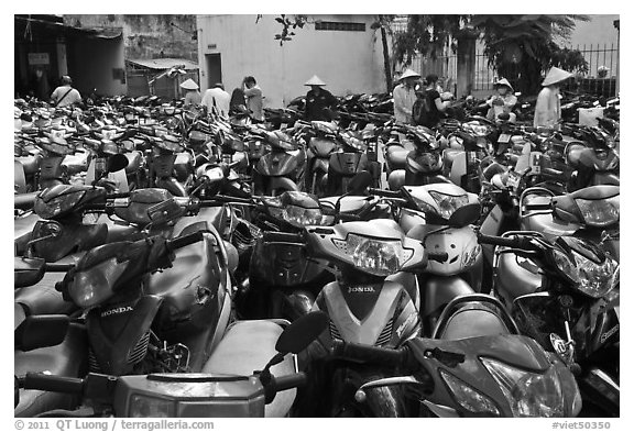Motorcycle parking area. Ho Chi Minh City, Vietnam (black and white)
