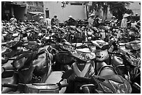 Motorcycle parking area. Ho Chi Minh City, Vietnam ( black and white)