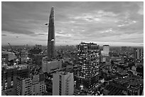 Bitexco Tower and downtown high rises at sunset. Ho Chi Minh City, Vietnam (black and white)