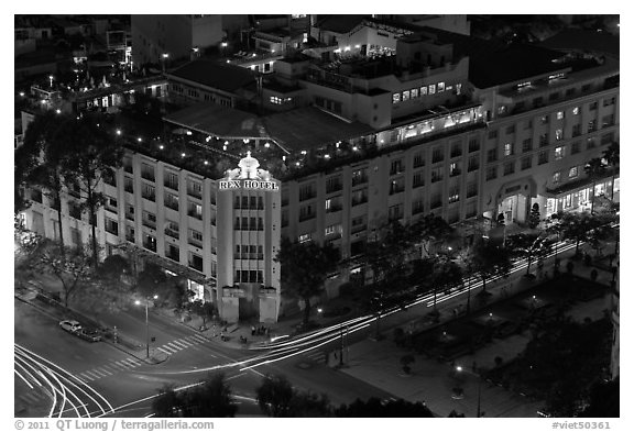 Rex Hotel seen from above, dusk. Ho Chi Minh City, Vietnam (black and white)
