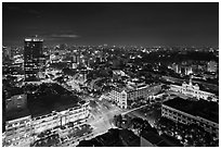 Saigon center at night from above. Ho Chi Minh City, Vietnam (black and white)