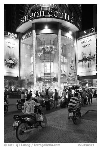 Saigon Center at night. Ho Chi Minh City, Vietnam (black and white)