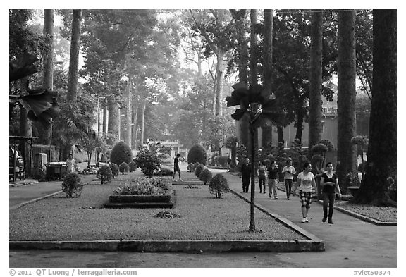 People strolling in alley below tall trees, Cong Vien Van Hoa Park. Ho Chi Minh City, Vietnam (black and white)