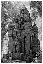 Small-scale model of Cham tower, Cong Vien Van Hoa Park. Ho Chi Minh City, Vietnam (black and white)