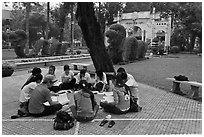Study group, Cong Vien Van Hoa Park. Ho Chi Minh City, Vietnam (black and white)