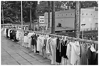 Sports jerseys being dried, Cong Vien Van Hoa Park. Ho Chi Minh City, Vietnam (black and white)