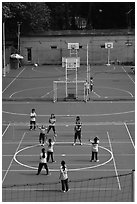 Girls Volleyball match, Cong Vien Van Hoa Park. Ho Chi Minh City, Vietnam ( black and white)
