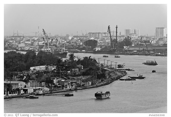 Port of Saigon. Ho Chi Minh City, Vietnam (black and white)