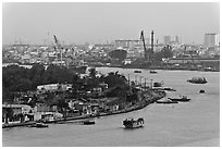 Port of Saigon. Ho Chi Minh City, Vietnam ( black and white)