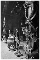 Pillars wrapped in dragons, Ha Chuong Hoi Quan Pagoda. Cholon, District 5, Ho Chi Minh City, Vietnam ( black and white)