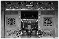 Entrance gate, Ha Chuong Hoi Quan Pagoda. Cholon, District 5, Ho Chi Minh City, Vietnam ( black and white)