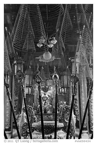 Incense coils, Phuoc An Hoi Quan Pagoda. Cholon, District 5, Ho Chi Minh City, Vietnam (black and white)