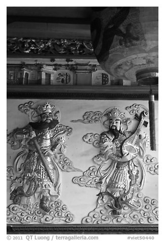 Ceramic bas-relief, Quan Am Pagoda. Cholon, District 5, Ho Chi Minh City, Vietnam (black and white)