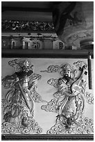 Ceramic bas-relief, Quan Am Pagoda. Cholon, District 5, Ho Chi Minh City, Vietnam ( black and white)