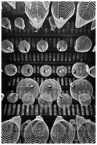Incense coils seen from below, Thien Hau Pagoda, district 5. Cholon, District 5, Ho Chi Minh City, Vietnam (black and white)