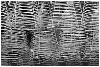 Burning incense coils, Thien Hau Pagoda. Cholon, District 5, Ho Chi Minh City, Vietnam (black and white)
