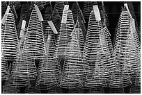 Hanging incense coils, Thien Hau Pagoda, district 5. Cholon, District 5, Ho Chi Minh City, Vietnam (black and white)